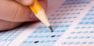 photograph of scantron exam being filled in with pencil