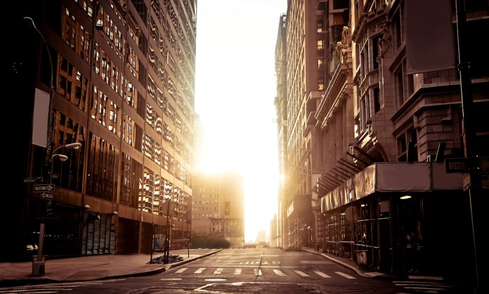 photograph of empty New York City street at dawn