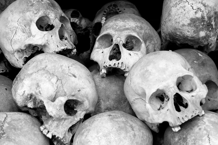 black and white photograph of human skulls stacked on top of one another