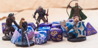 photograph of D&D figurines and dice