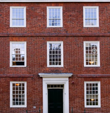 photograph of exterior of classroom building at Harvard