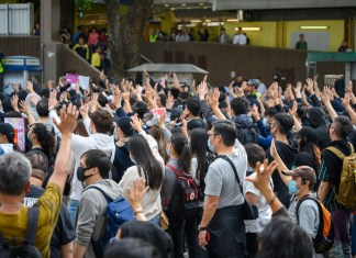 photograph of peaceful protest in Sheung Shui district arms raised