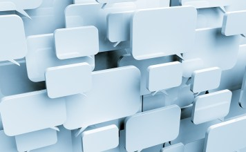 Image of many blank speech bubbles forming a cloud