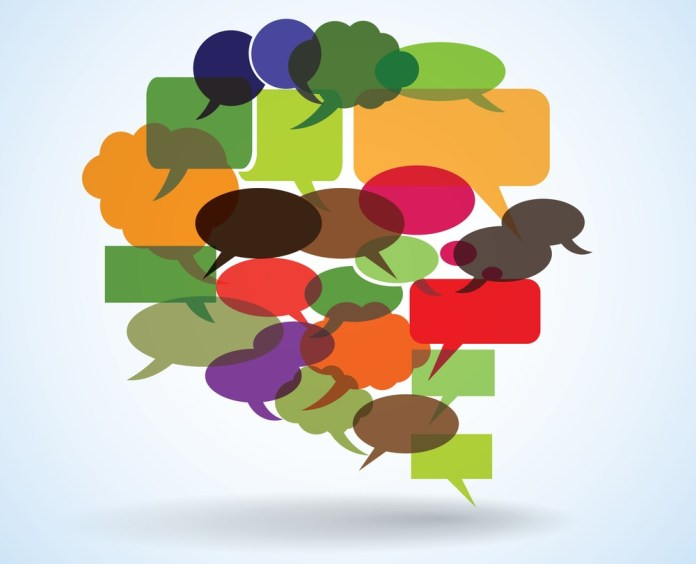 image of multi-colored thought and speech bubbles gathered together