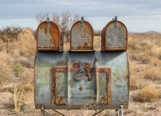 photograph of rusty mail boxes in rural New Mexico