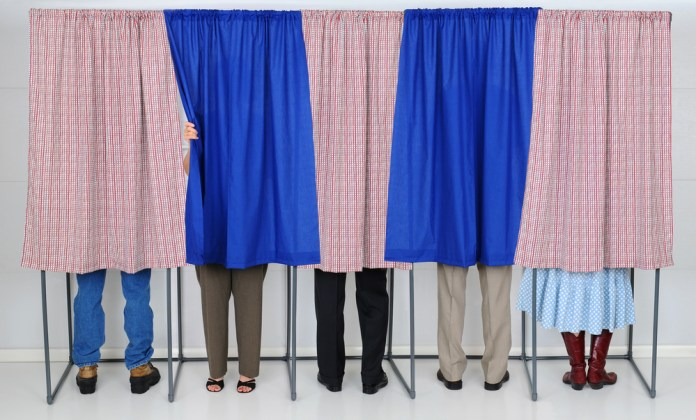 photograph of people in voting booths