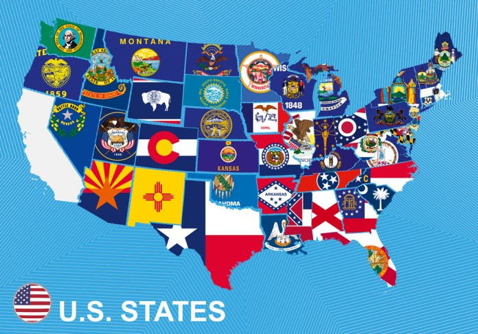image of US map with flags of states