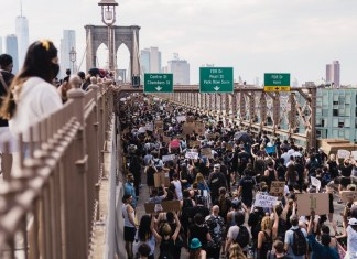 photograph of protesters occupying Brookyln Bridge