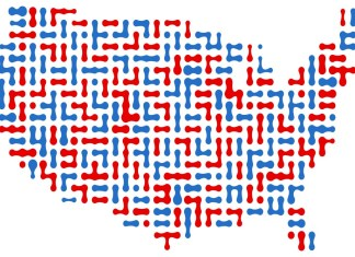 image of red and blue cells making a map of the US