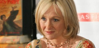 photograph of JK Rowling at book signing for Harry Potter