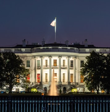 photograph of the White House at night