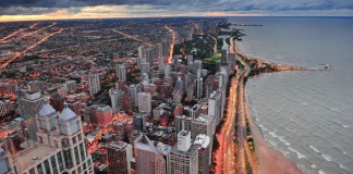 aerial photograph of Chicago lakefront skyline