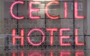 photograph of neon Cecil Hotel sign