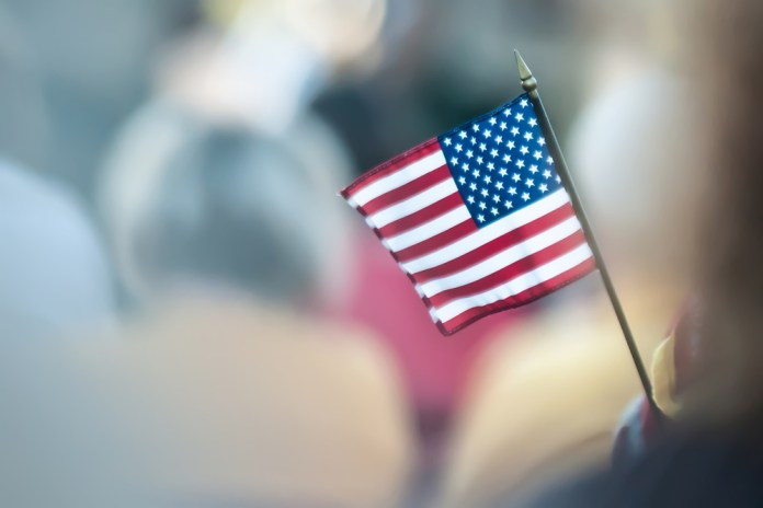 photograph of miniature US flag with blurred background
