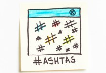 image of hashtags on sticky note