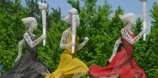 photograph of runner statues in Beijing's Olympic Park