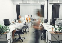 photograph of blurred motion in the office