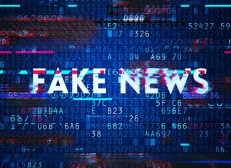 """image of glitched """"FAKE NEWS"""" title accompanied by bits of computer code"""