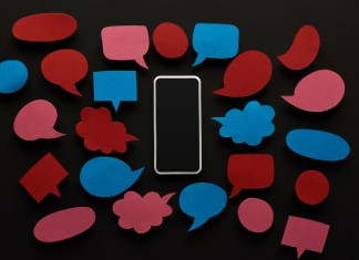 image of speech bubbles surrounding iphone outline