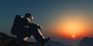photograph of astronaut sitting on surface of foreign planet at dawn