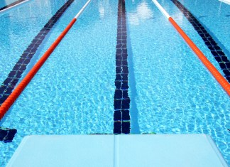photograph from diving board of Olympic pool lane