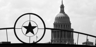 black-and-white photograph of Texas State Capitol Building