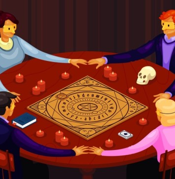 cartoon image of an occult seance