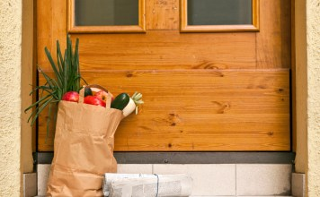 photograph of grocery bag delivered on doorstep