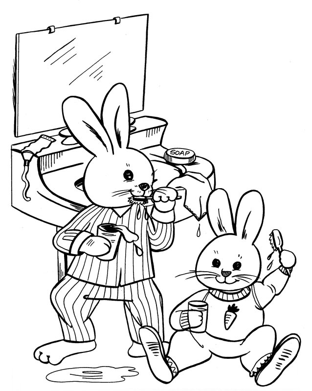 Free coloring pages of brushing teeth child