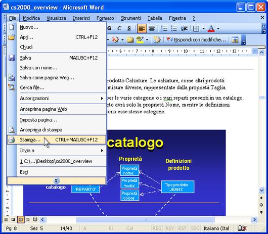 Aprire il documento in Microsoft Word e premere File-Stampa... nel  menu principale dell'applicazione.
