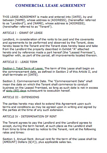 Commercial Lease Agreement Real Estate Forms