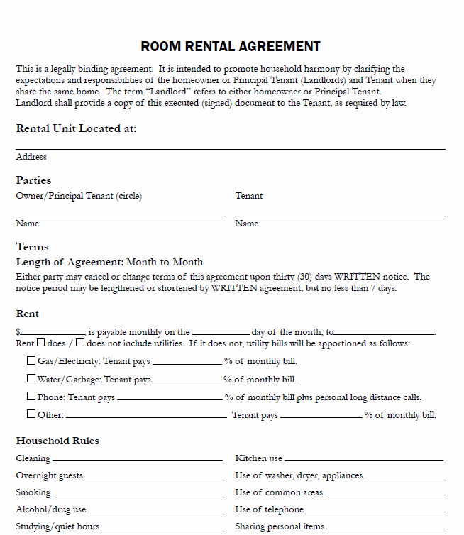 Room Rental Agreement Form  Real Estate Forms