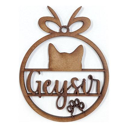 Bola de navidad de madera con nombre o texto 03 gato