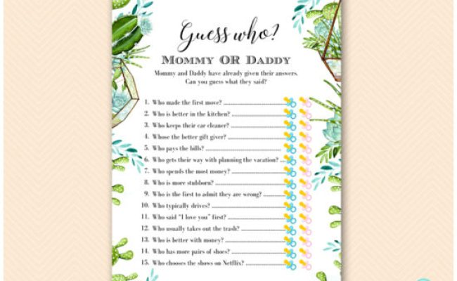 Succulent And Cactus Baby Shower Games Printabell Express