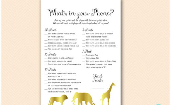 Gold Jungle Safari Baby Shower Game Package 2 Printabell