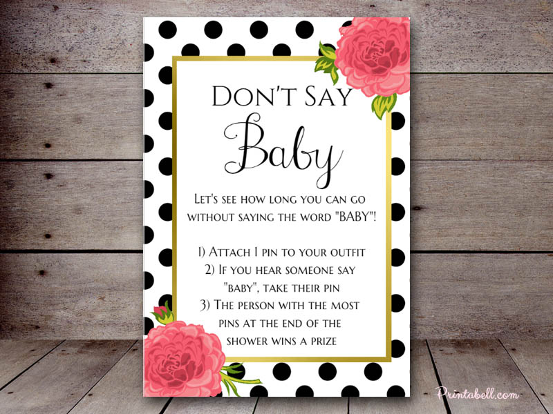 photo relating to Don't Say Baby Game Sign Free Printable named wear t say boy or girl recreation indicator free of charge printable