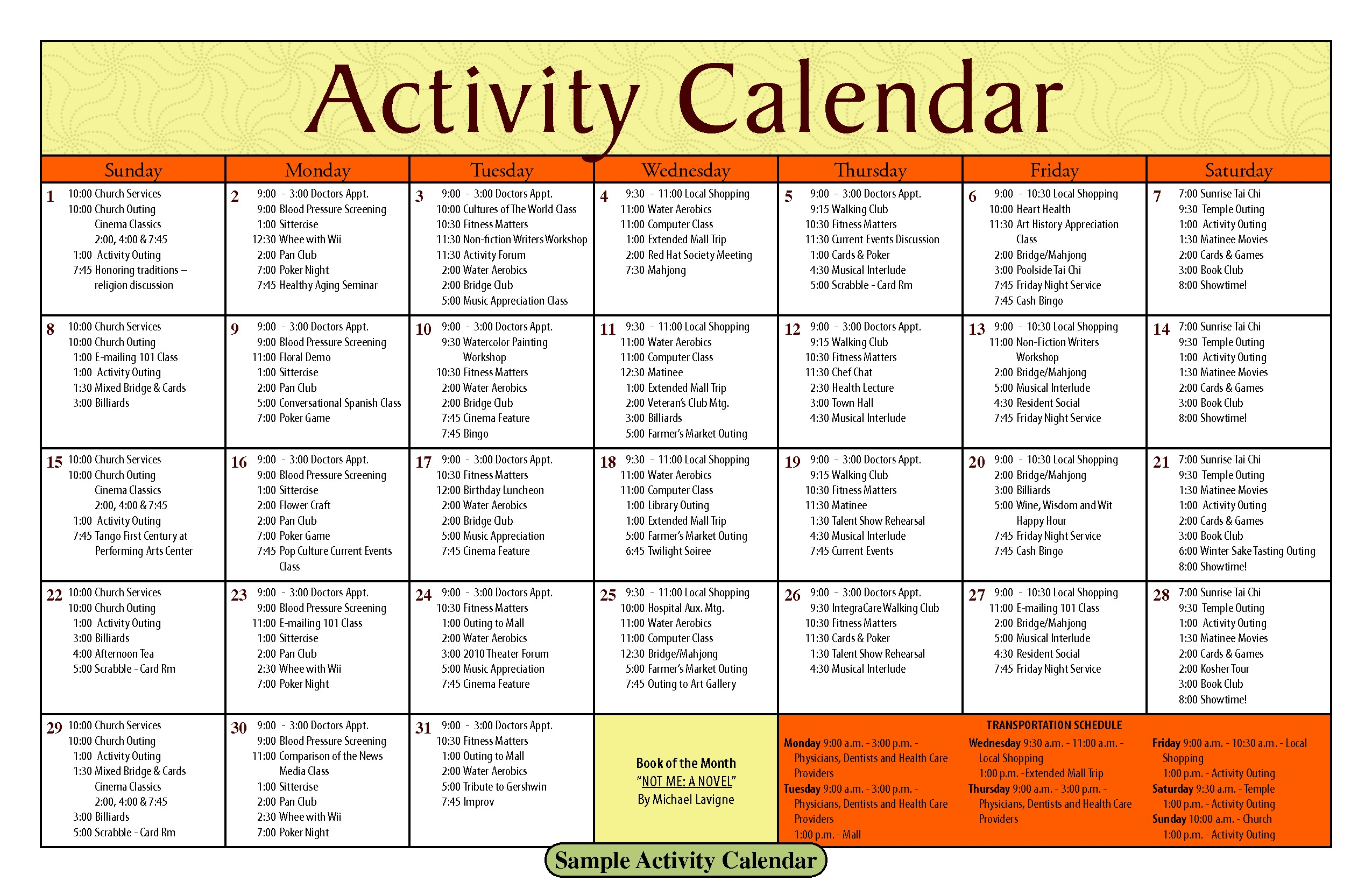 Activity Calendar Template Printable Week Calendar