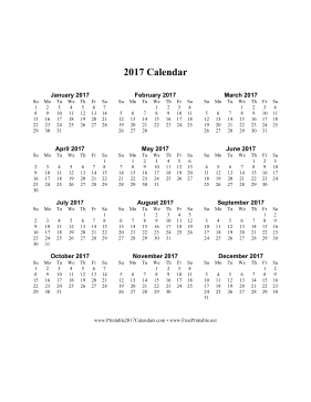 printable 2017 calendar on