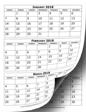 printable 2018 calendar three
