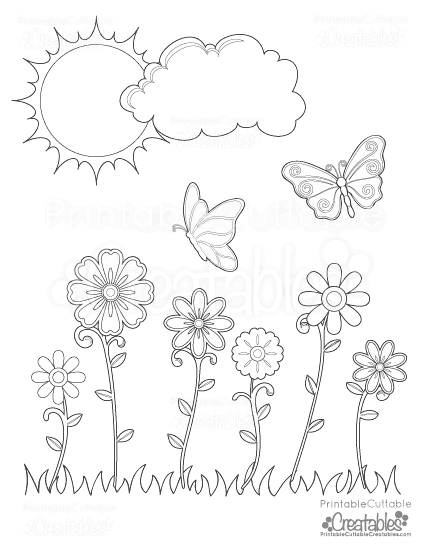 Spring Flowers & Butterflies Printable Coloring Page