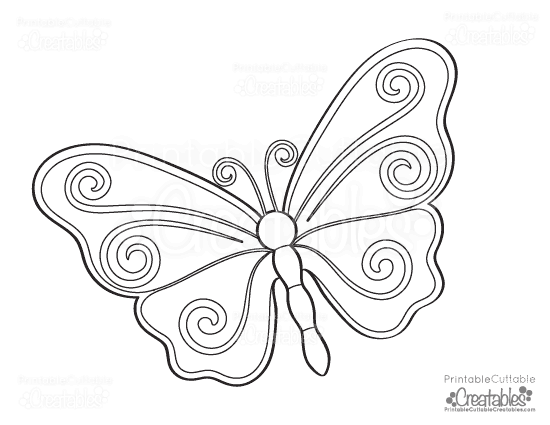 Free Swirl Butterfly Printable Coloring Page
