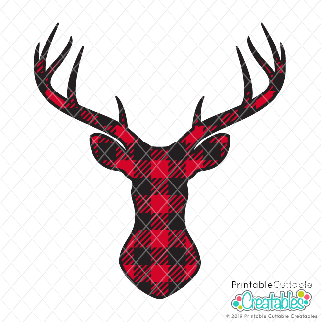 Download Buffalo Plaid Deer Head FREE SVG File & Clipart for Cricut ...