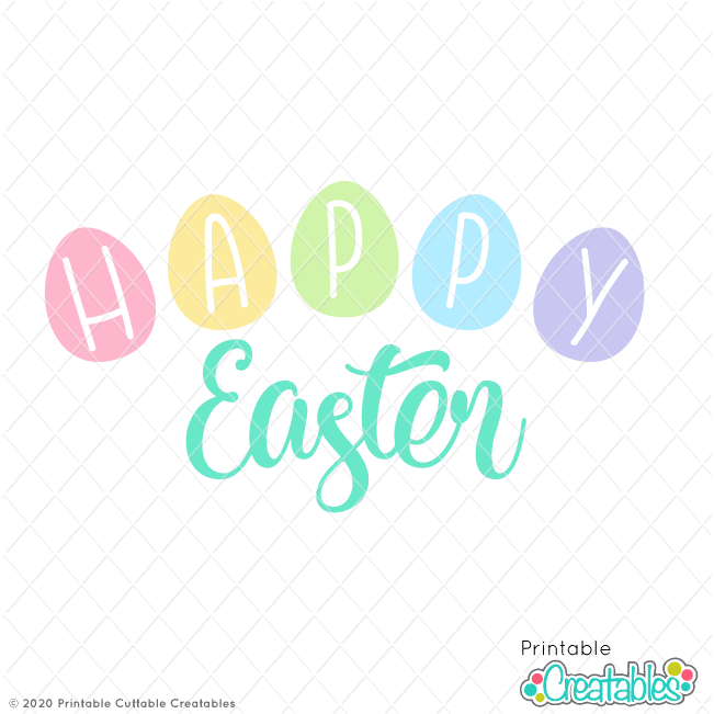Download Happy Easter Title FREE SVG File for Cricut & Silhouette