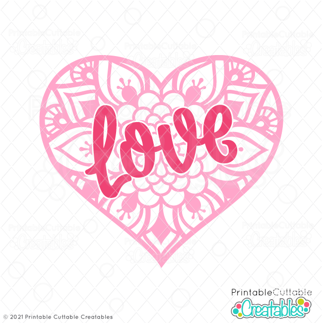 Download Love Heart Mandala Free SVG File for Cricut & Silhouette ...