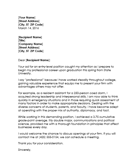 resume cover letter examples for college students student cover - Cover Letter Examples For Graduates