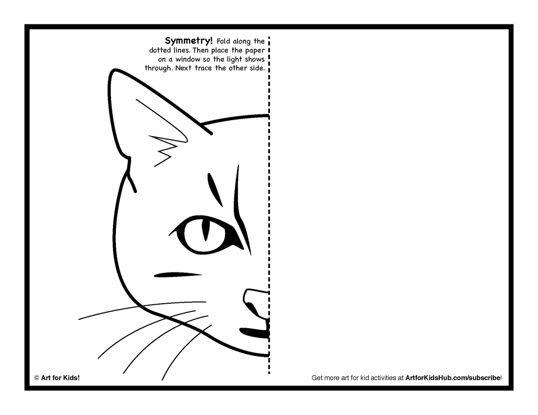 Cat Half Face Coloring Pages