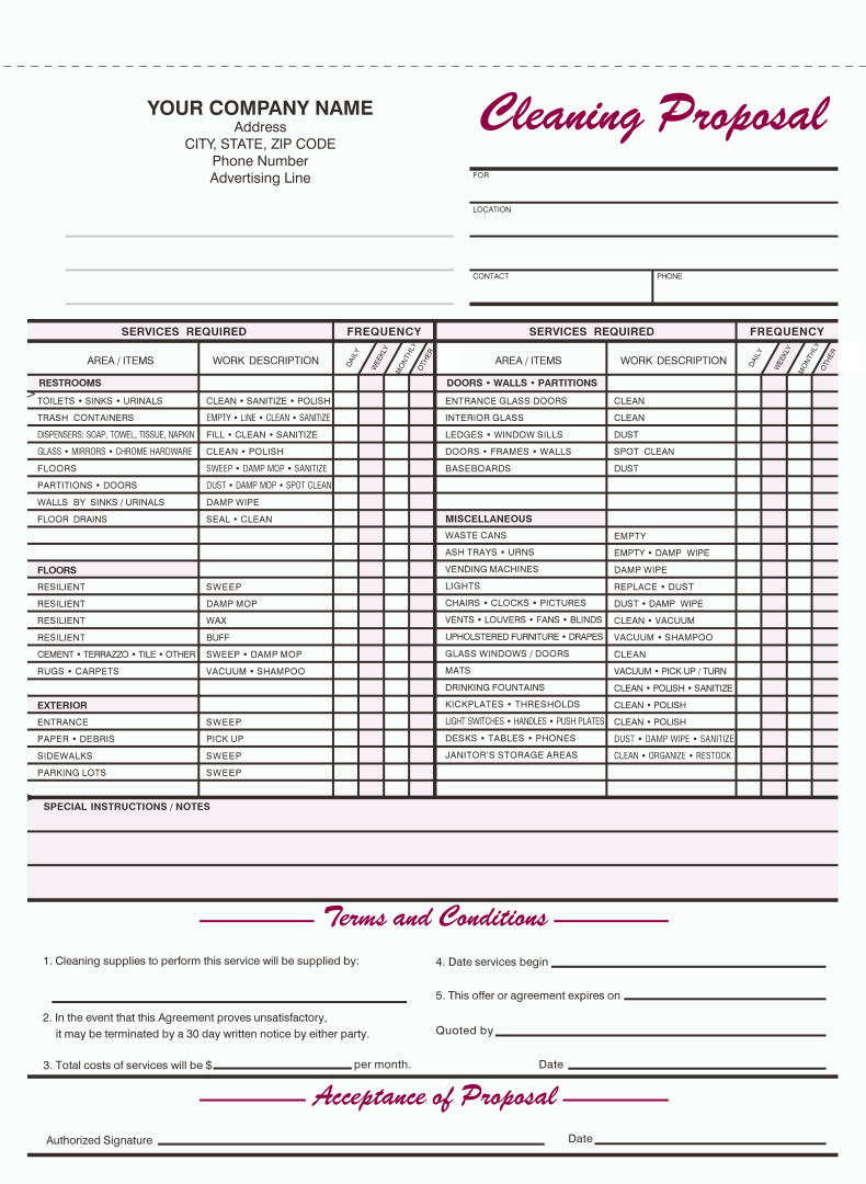 9 Best Images Of Free Printable Cleaning Business Forms Cleaning Bid Proposal Template