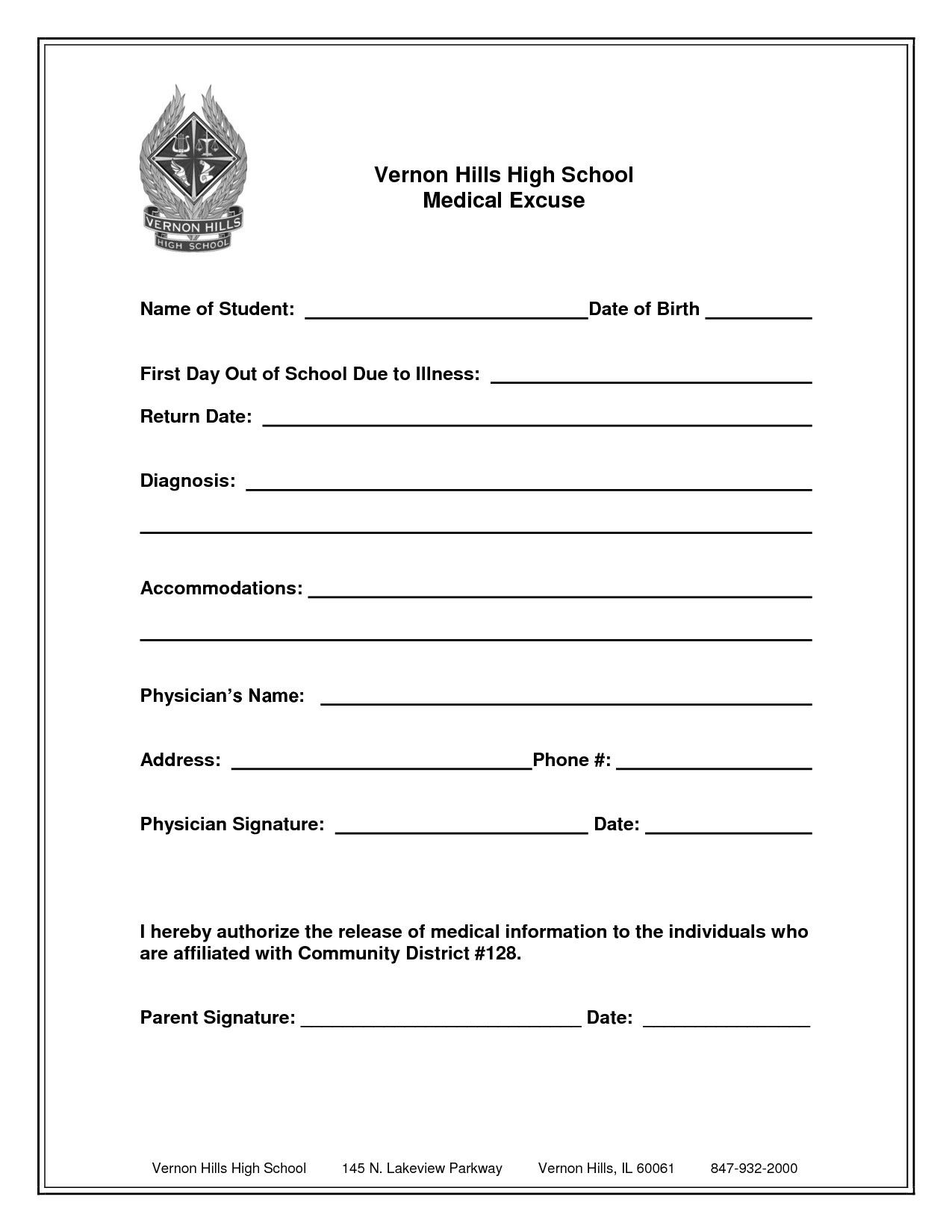 absence note for school template