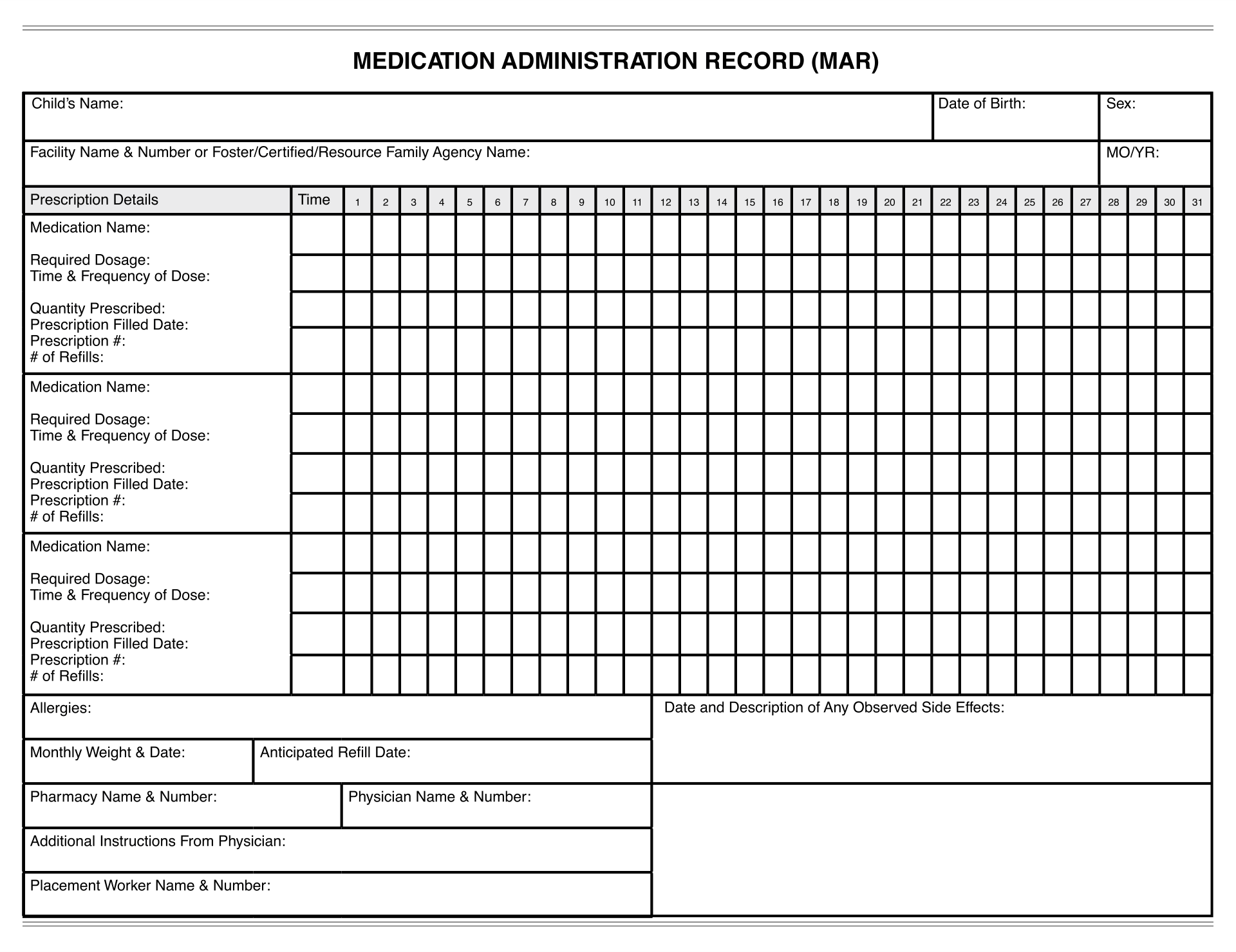 9 Best Images Of Printable Medication Administration Record Template