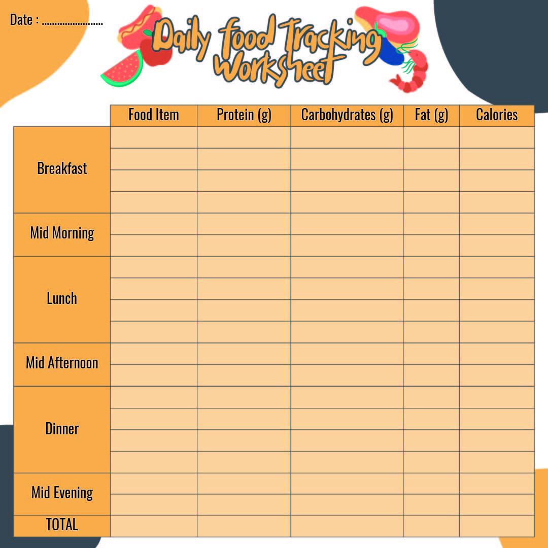 daily calorie log worksheet